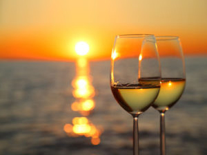 wine glasses and sunset